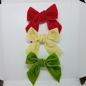 Holiday Velvet Hair Bow Accessories Red Green